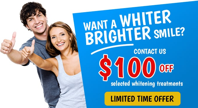 100 off for selected whitening treatment at advanced dental practices